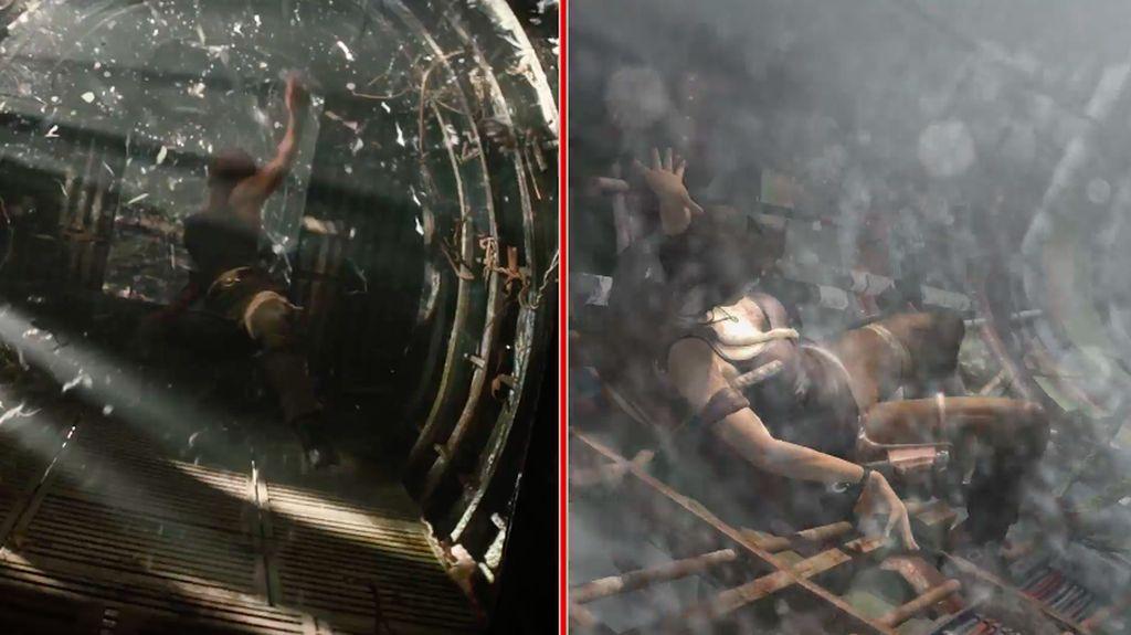 Meski tidak sama persis, banyak adegan di film terinspirasi dengan adegan di video game Tomb Raider yang rlis pada tahun 2013. Foto: IGN