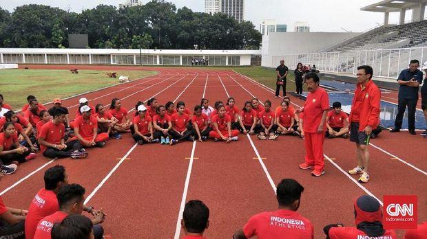 Cabang olahraga atletik kembali berlatih di Stadion Madya setelah terusir dua tahun.