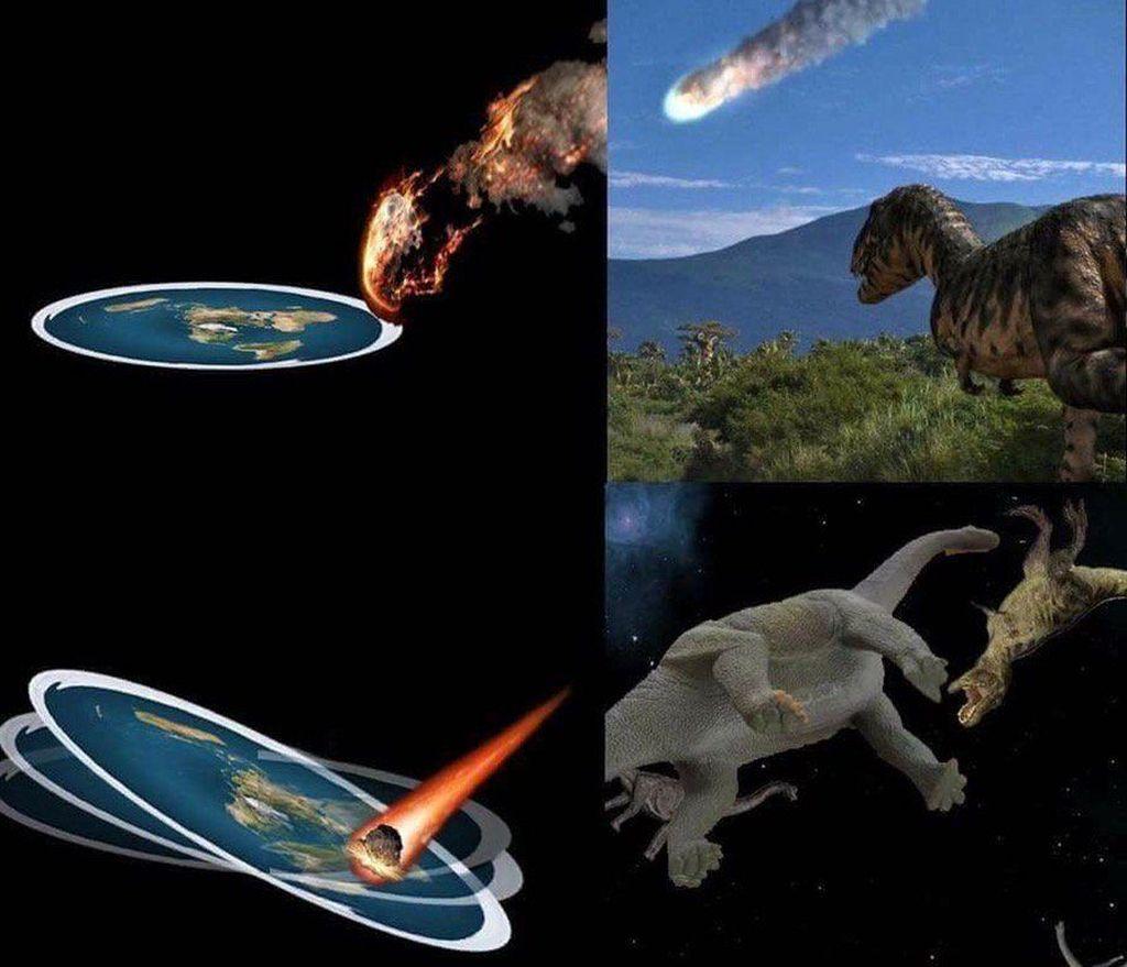 Mungkin begini proses punahnya dinosaurus jika Bumi berbentuk datar. (Foto: Instagram)