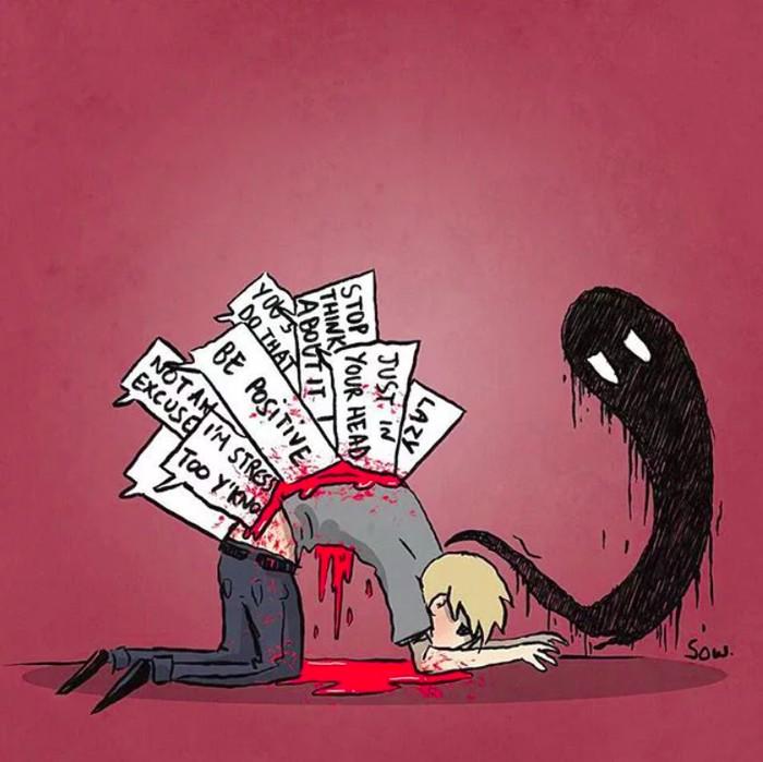 Seperti ilustrasi berikut ini, orang depresi selalu merasa lelah, tidak bersemangat dan beraura negatif. Foto: 9gag