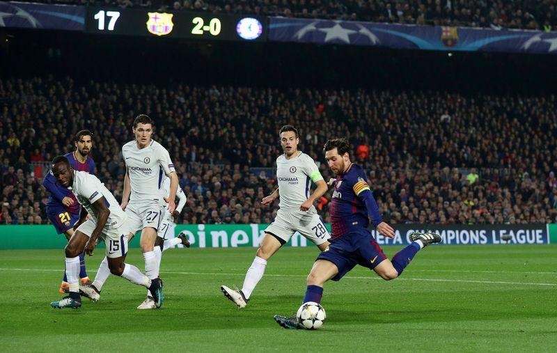 Messi tampil cemerlang saat membawa Barcelona menang 3-0 atas Chelsea di Camp Nou, Kamis (15/3) dinihari WIB pada leg kedua babak 16 besar Liga Champions. Hasil itu membawa Blaugrana lolos ke perempatfinal (Albert Gea/REUTERS)