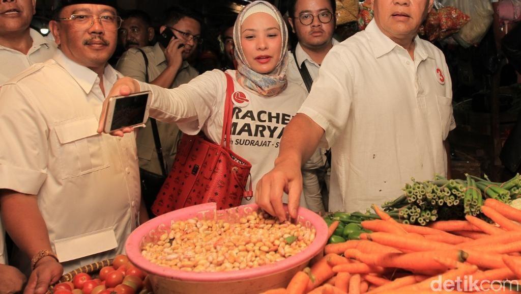 Sudrajat Gandeng Rachel Maryam Kampanye ke Pasar Baru Majalaya