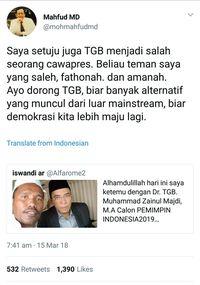Mahfud MD Dukung TGB Maju Di Pilpres 2019