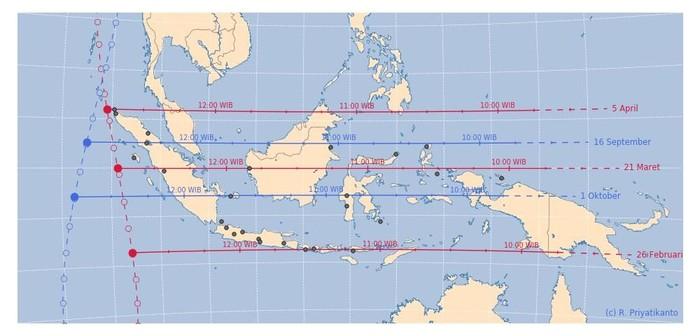 Daerah-daerah di Indonesia yang alami hari tanpa bayangan. Foto: Dok. LAPAN