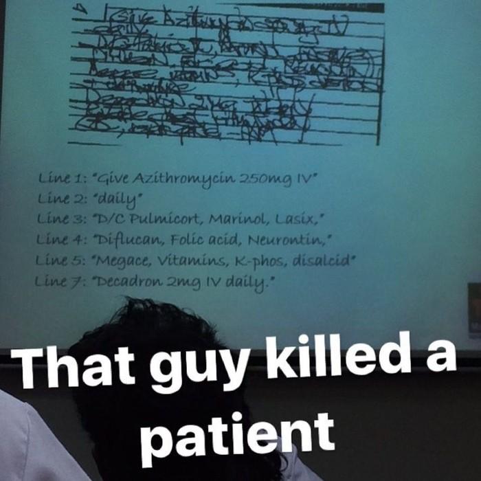 Jawabannya bisa karena memang ada kelas khusus untuk membaca tulisan dokter seperti yang ditunjukkan foto ini. (Foto: Instagram)