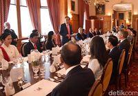 Jokowi saat sambutan dalam jauman makan siang oleh Gubernur Jenderal Selandia Baru Dame Patsy Reddy.