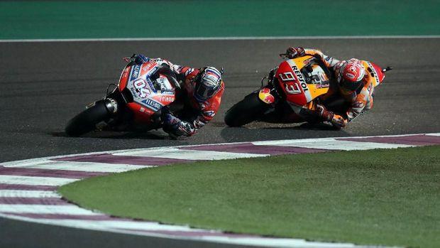 Marc Marquez kalah dari Andrea Dovizioso di MotoGP Qatar.