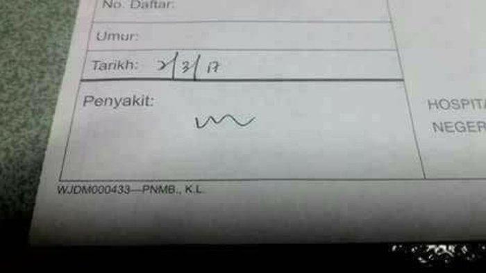 Contoh tulisan dokter yang viral di media sosial membuat warganet keheranan. (Foto: Twitter/Antangin)
