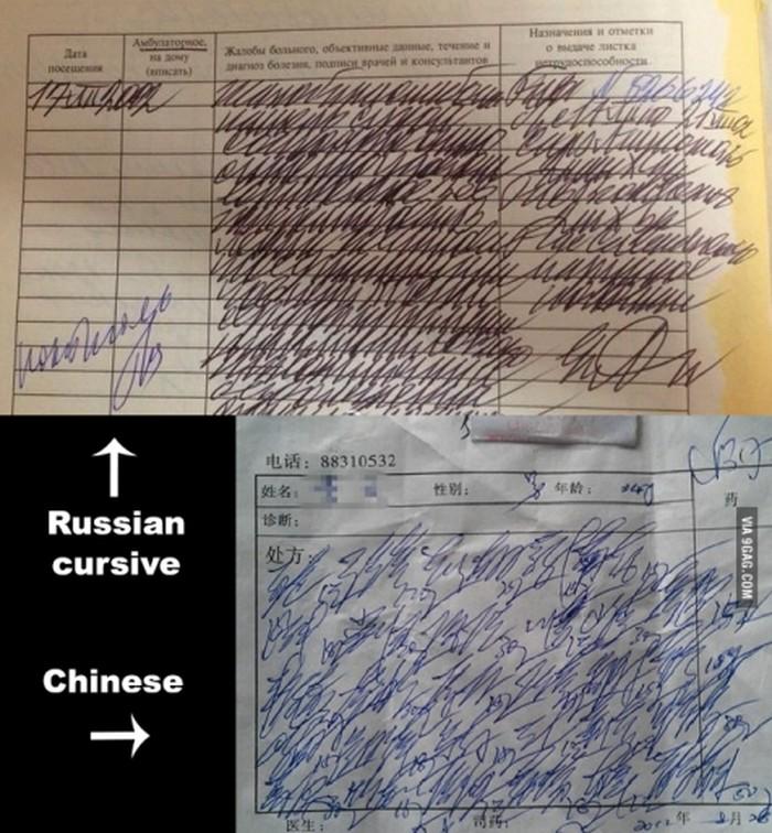 Contoh tulisan dokter dari Rusia sama China. Kira-kira parahan mana dibanding dokter Indonesia? (Foto: Instagram)