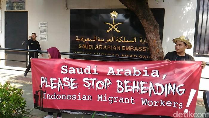 Demonstrasi di depan Kedutaan Besar Arab Saudi (Samsudhuha Wildansyah/detikcom)