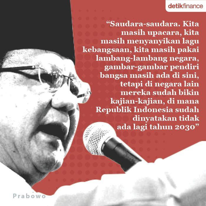 Prabowo Subianto pada pidato politik Ketua Umum Gerindra yang diunggah ke laman Facebook, 2018 (Ilustrasi oleh Mindra Purnomo)