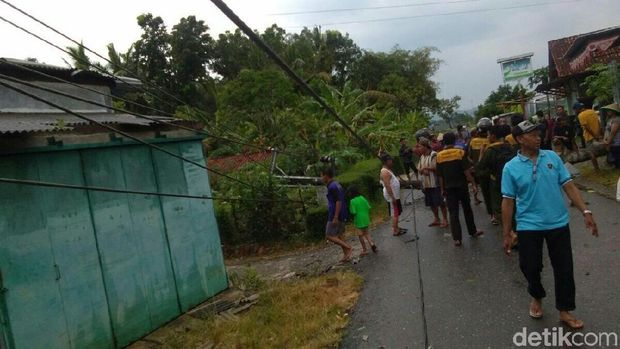 Pohon tumbang di Kebumen menutup akses jalan.