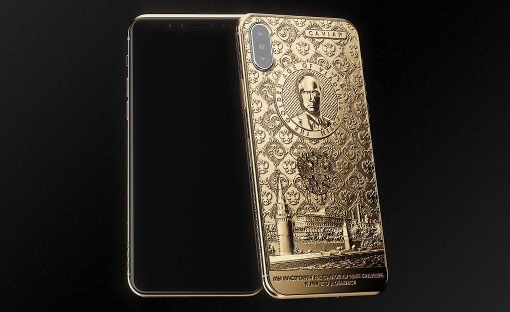Sukses menggarap iPhone 6S berlapis emas dengan pahatan wajah Vladimir Putin, Caviar kembali membesut produk sejenis. Tapi kali ini iPhone X. Foto: Caviar