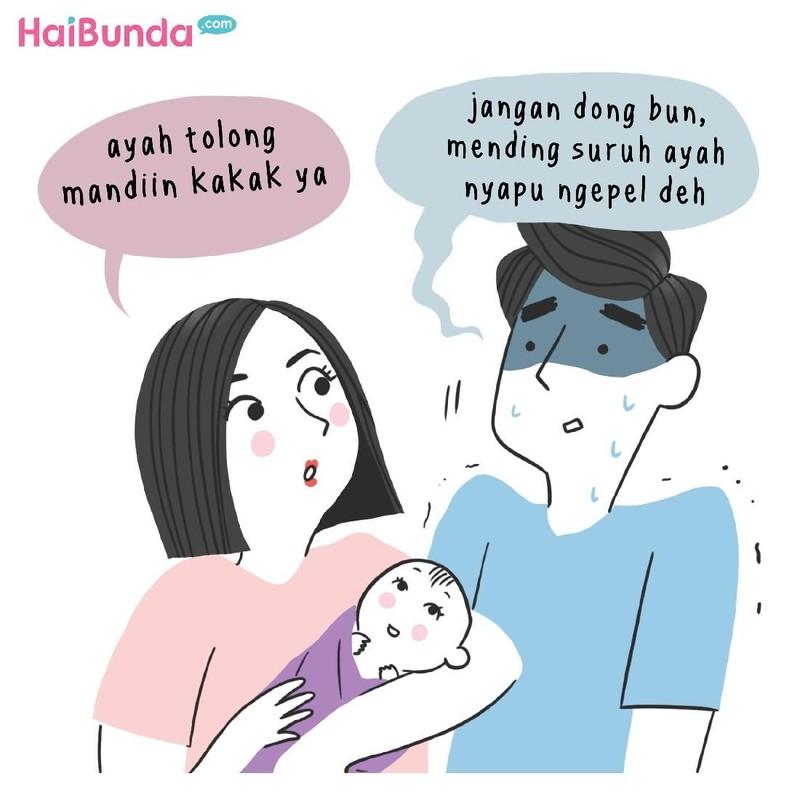 Ingatkah pengalaman saat suami menjadi ayah baru, Bun? Apa yang paling membekas di ingatan?