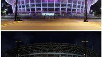 Before After Stadion GBK Jadi Gelap Saat Earth Hour