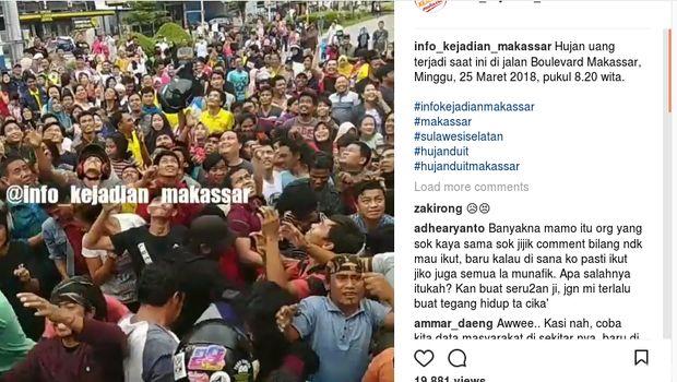 Ada Hujan Duit di Makassar, Warga Heboh