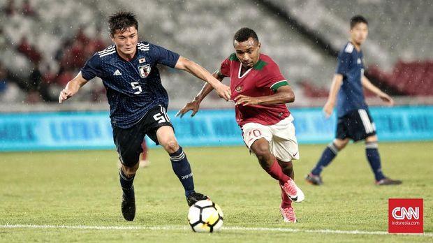 Timnas Indonesia U-19 bertemu dengan timnas Jepang dalam laga uji tanding, Maret 2018.