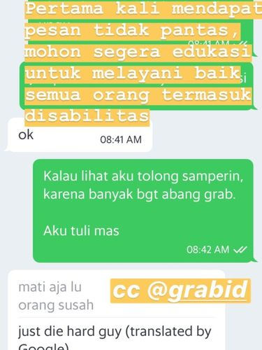 Chat dengan driver Grab.