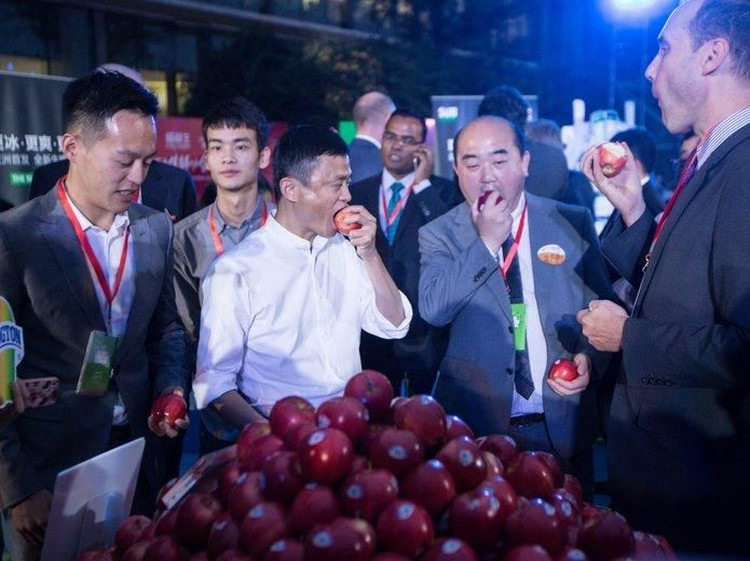 Alibaba chairman Jack Ma, center, tasted Washington apples at Alibaba Group Headquarters in Hangzhou, China on Oct. 14. The apples are being marketed during the nation's big Singles Day e-commerce extravaganza Nov. 11. Credit: Washington Apple Commission