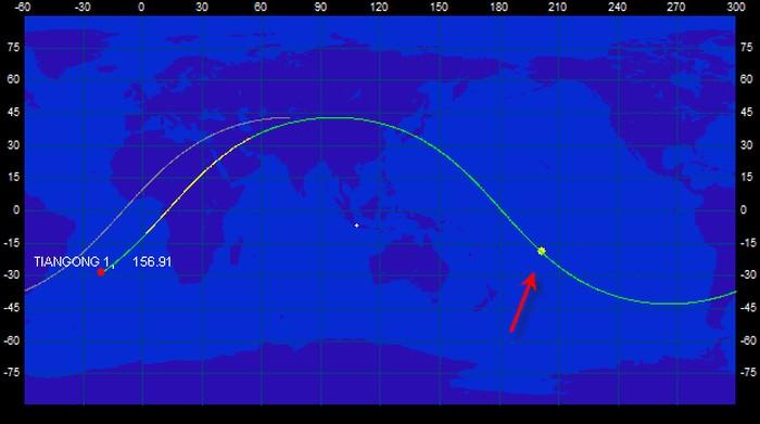 Tanda panah menunjukkan perkiraan lokasi benda saat ketinggian 10 km dari permukaan bumi. Foto: LAPAN via Space-track