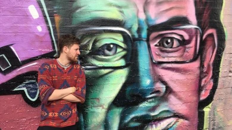 Sosok Stephen Hawking Diabadikan dalam Bentuk Grafiti Foto: BBC