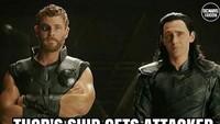 Ingat di penghujung film Thor: Ragnarok, ketika pesawat yang ditumpangi Thor dan Loki berhadapan dengan pesawat raksasa? Foto: dok Instagram