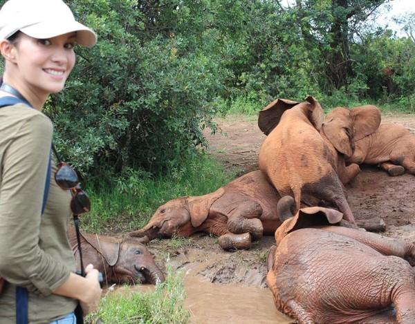 Pada kesempatan itu, Nadya membuat sebuah film dokumenter tentang gajah di Afrika. Sudah cantik, mulia juga niat Nadya (nadyahutagalung/Instagram)