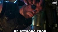 Di pesawat itu berisi Thanos, ia lalu menyerang Thor sampai tak berdaya. Foto: dok Instagram
