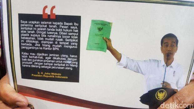 Pesan Jokowi yang diselipkan di sertifikat tanah