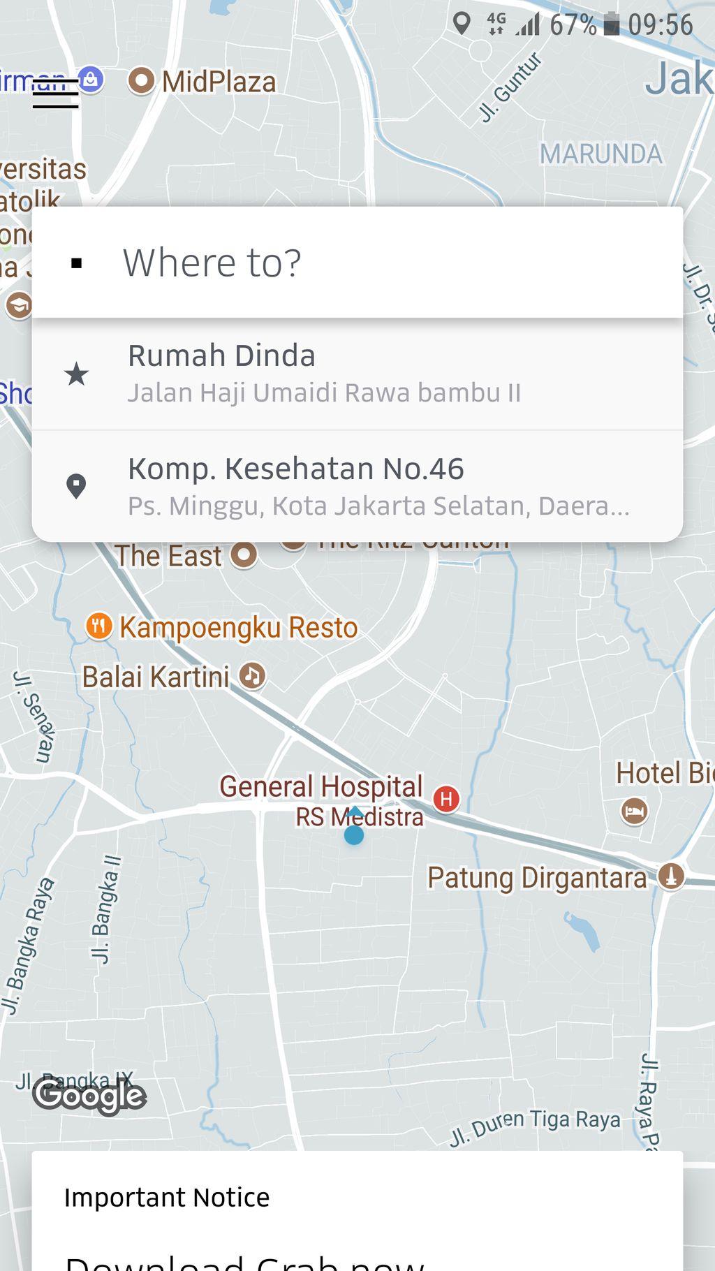 Tampilan muka aplikasi Uber yang biasanya dihiasi keberadaan para driver, kini tampak kosong melompong, walau tetap bisa mendeteksi lokasi penggunannya. (Foto: Screenshot)