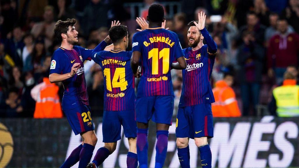 Lihat Lagi Momen Keceriaan Sementara Barcelona Hajar AS Roma
