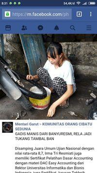 Unggahan tukang tambal ban cantik di Facebook.
