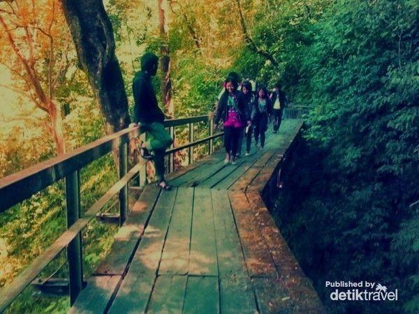Nantinya kita juga akan melewati jembatan kayu. Sebaiknya Anda berfoto di jembatan ini, karena pemandangannya sangat bagus. Batas dari jalur ini adalah sebuah bangunan tempat pengaturan debit air (Rivai Hidayat/dTraveler)