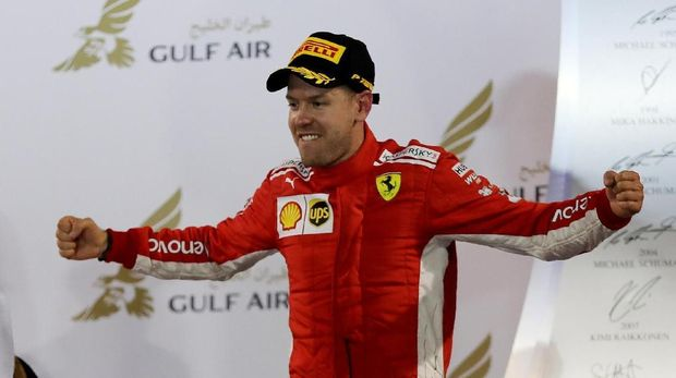 Sebastian Vettel menjadi juara F1 Bahrain 2018.