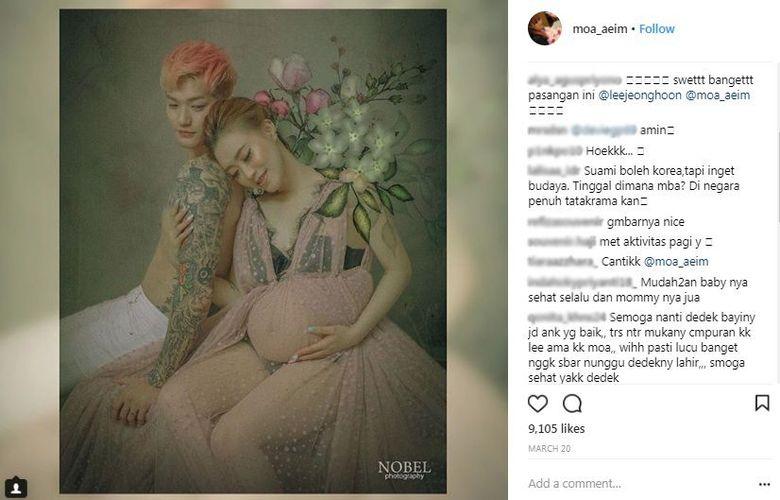 Lee Jeong Hoon dan Moa dihujat karena melakukan foto maternity yang dinilai tak sesuai dengan budaya Indonesia. (Dok. Instagram/moa_aeim)
