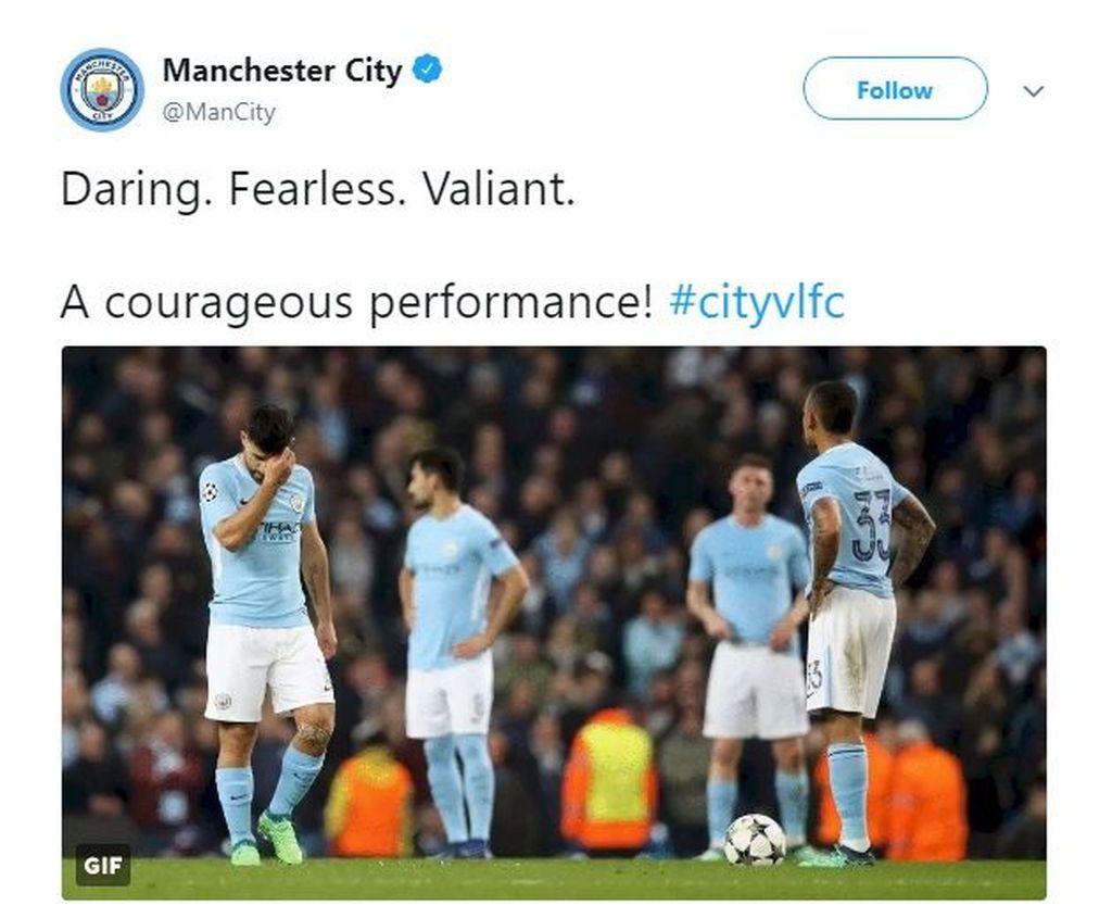 Walau kalah, akun Twitter dari Manchester City tetap memberikan pujian bagi penampilan para pemainnya. (Foto: Twitter)