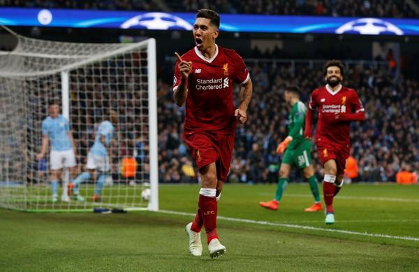 Firmino menjadi bintang kemenangan Liverpool atas Manchester City di Liga Champions. Dia mencetak gol penentu kemenangan, sekaligus meloloskan Liverpool ke semifinal Liga Champions (Andrew Yates/ REUTERS)