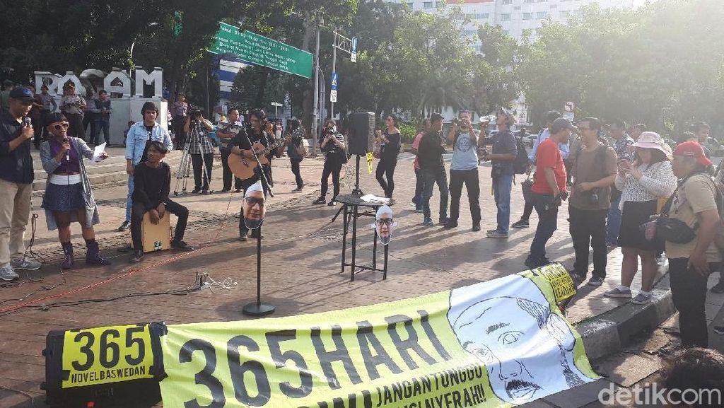 Setahun Kasus Novel Baswedan, Massa Unjuk Rasa di Depan Istana