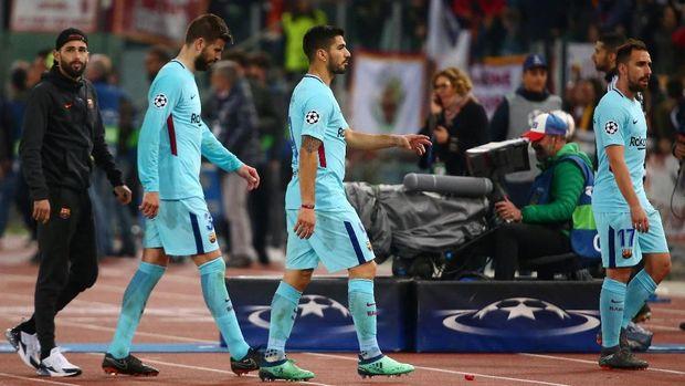 Barcelona tersingkir dari Liga Champions usai kalah 0-3 di markas AS Roma.