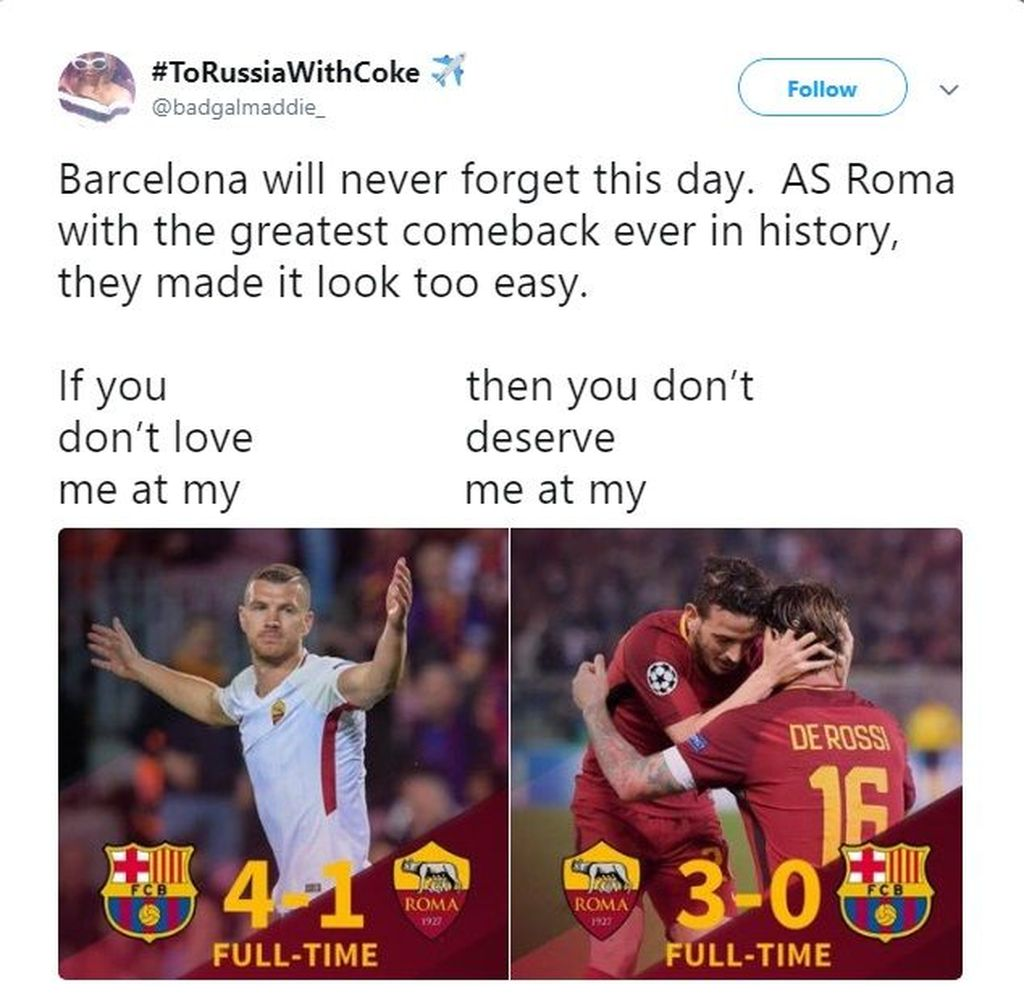 Buat fans Roma yang malu-malu pas dibantai kemarin, jangan sok jadi suporter sejati ya waktu tahu menang lawan Barcelona. (Foto: Twitter)