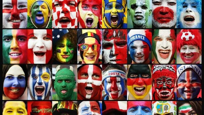 Wajah fans sepak bola dalam balutan 32 negara peserta Piala Dunia 2018. Foto: Getty Images