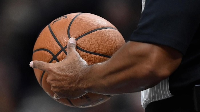 SALT LAKE CITY, UT - OCTOBER 2: General view of a NBA referee holding a game ball at Vivint Smart Home Arena on October 2, 2017 in Salt Lake City, Utah. NOTE TO USER: User expressly acknowledges and agrees that, by downloading and or using this photograph, User is consenting to the terms and conditions of the Getty Images License Agreement. (Photo by Gene Sweeney Jr./Getty Images) *** Local Caption ***