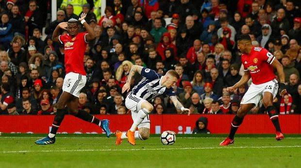 Manchester United dikalahkan West Brom United 0-1 di Stadion Old Trafford.