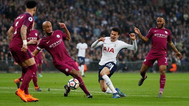 Man City menang tipis 1-0 atas Tottenham di putaran pertama.