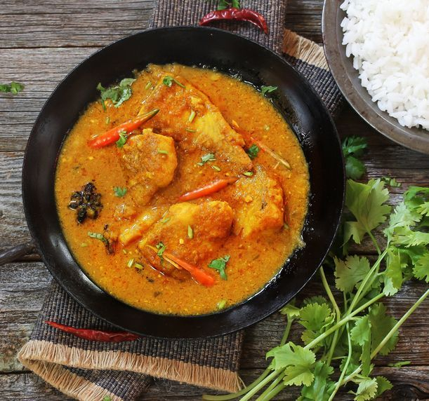 Bengali Fish Curry (Doi Maach)  cooked in yogurt  gravy,top down view