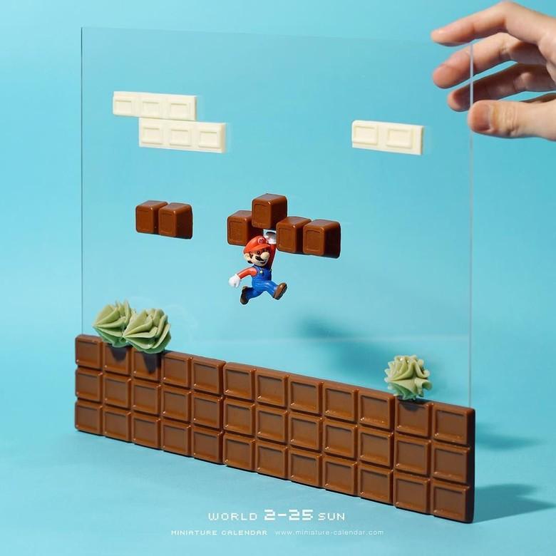 Dunia Super Mario diubah jadi serba cokelat. Foto: Instagram @tanaka_tatsuya