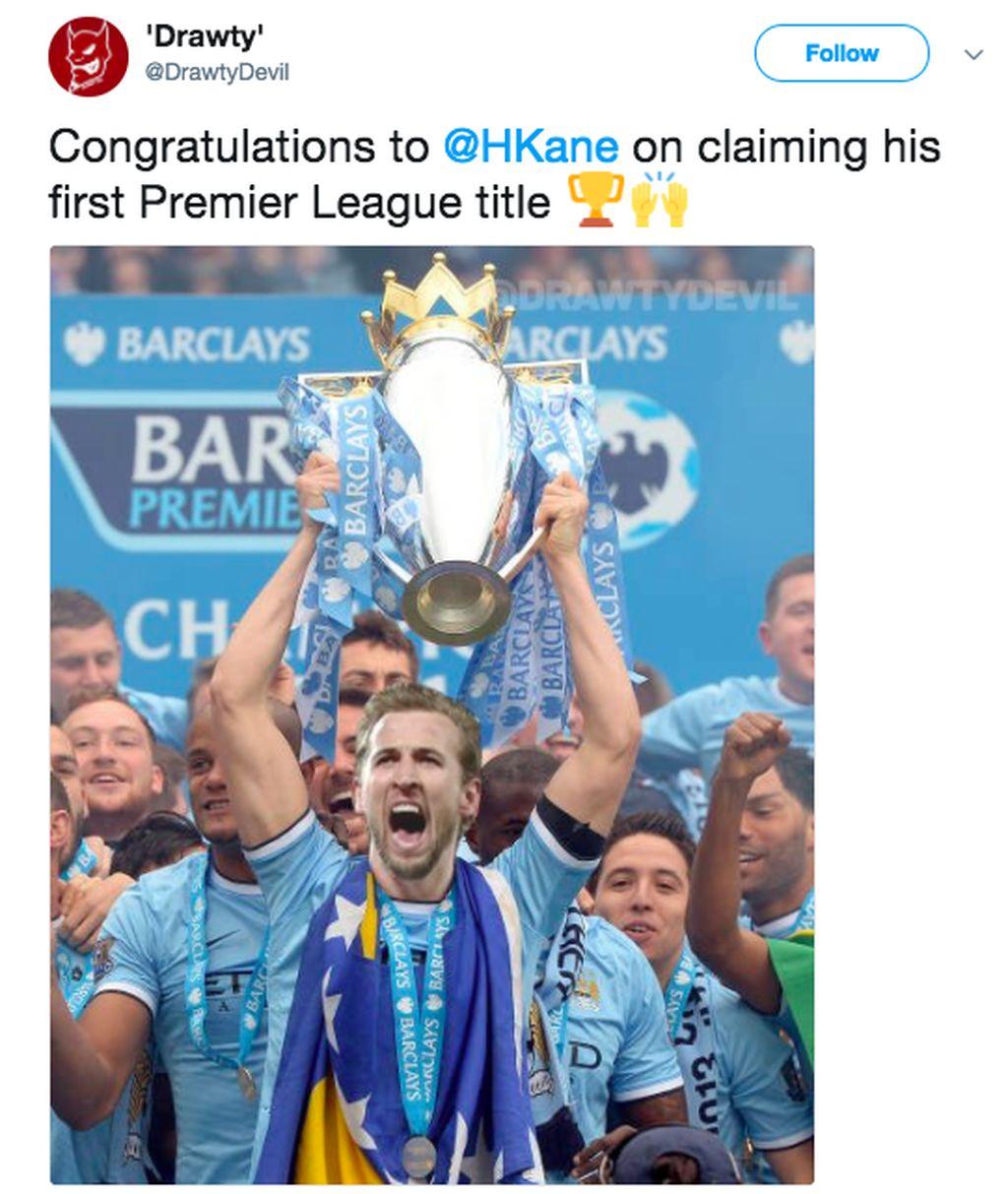 Kane mengangkat Piala Liga Inggris. Meme semacam ini bertebaran setelah Kane mengklaim gol rekan setimnya Cristian Eriksen saat melawan Stoke City. Tottenham banding gol tersebut yang akhirnya jadi milik Kane walau dalam siaran ulang, banyak yang menilai Kane tak menyentuh bola. Foto: istimewa
