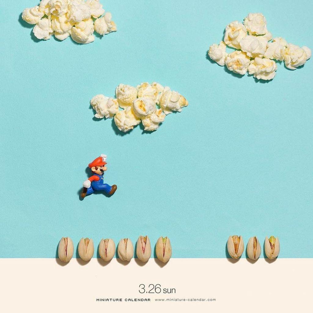 Kali ini giliran berondong jagung yang menemani petualangan Mario. Foto: Instagram @tanaka_tatsuya