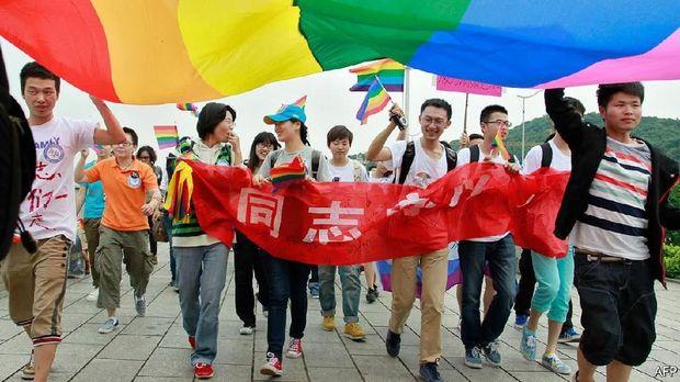 Aksi dukung LGBT di China.