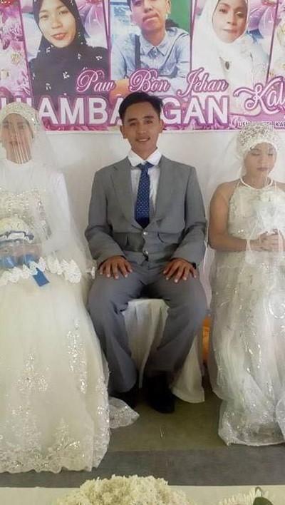 Pria nikahi dua wanita sekaligus. Foto: Facebook